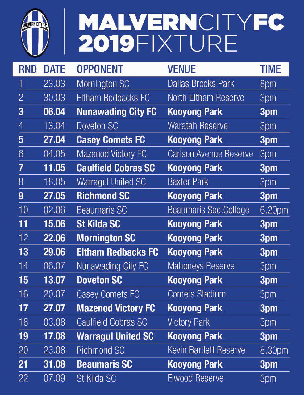2019 Fixture