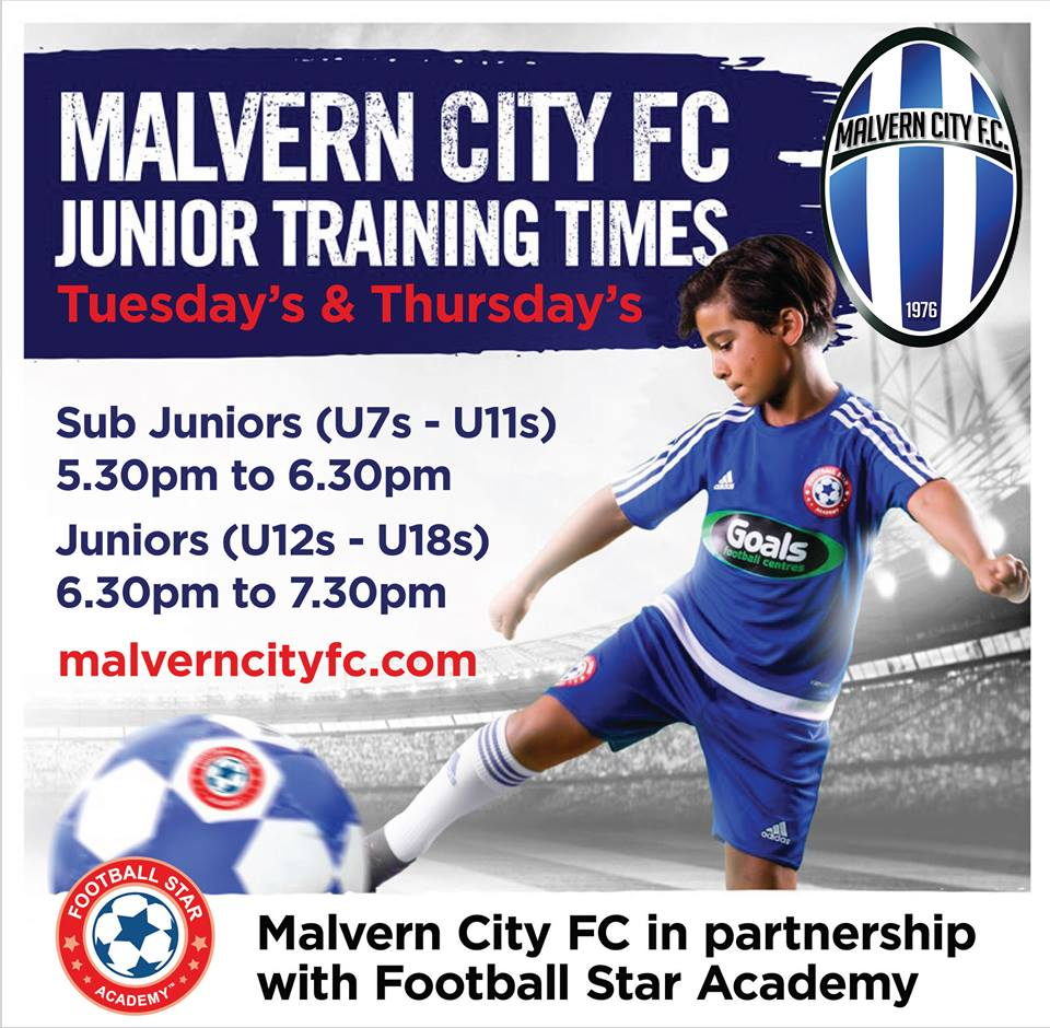 Malvern Juniors Training Times