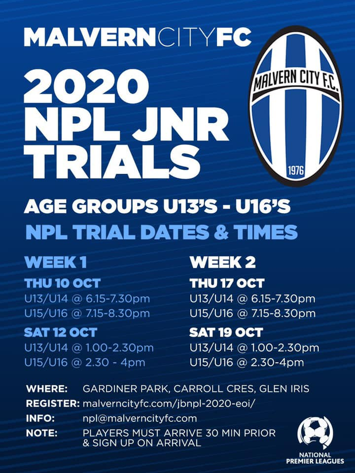 NPL Junior Trials Date And Times